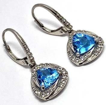 Authentic Lorenzo .925 Sterling Silver, 3.65ctw Blue Topaz & White Topaz Earrings