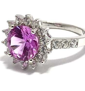 Authentic Lorenzo .925 Sterling Silver, 4.0ctw Pink Sapphire & 0.50ctw White Topaz Ring Size 6