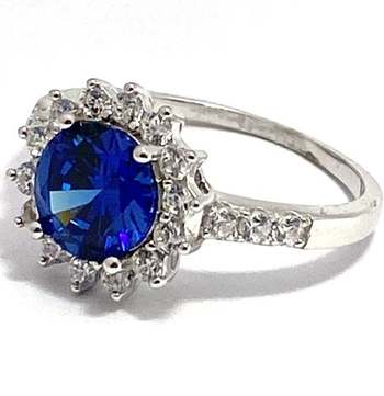 Authentic Lorenzo .925 Sterling Silver, 4.0ctw Sapphire & 0.50ctw White Topaz Ring Size 9