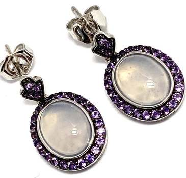 Authentic Lorenzo .925 Sterling Silver, 4.28ctw Blue Chalcedony & Amethyst Earrings