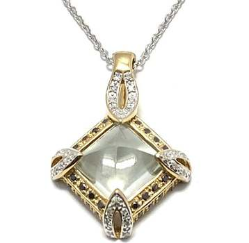 Authentic Lorenzo .925 Sterling Silver, 4.67ctw Genuine Diamond & Green Amethyst Necklace