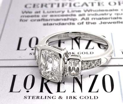 Authentic Lorenzo .925 Sterling Silver, 5.24ctw AAA Grade CZ's Engagement Ring Size 8