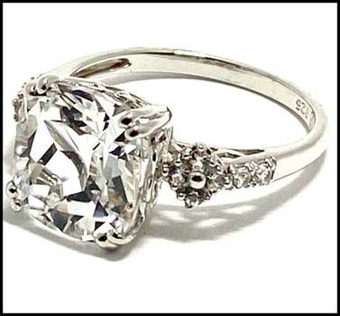 Authentic Lorenzo .925 Sterling Silver, 5.50ctw Diamonique Ring Size 7