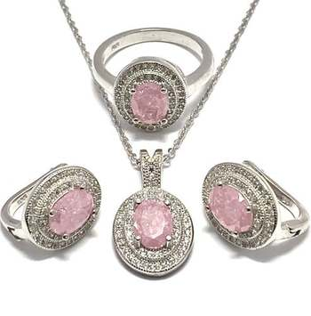 Authentic Lorenzo .925 Sterling Silver, 5.5ctw Pink & White Topaz Set