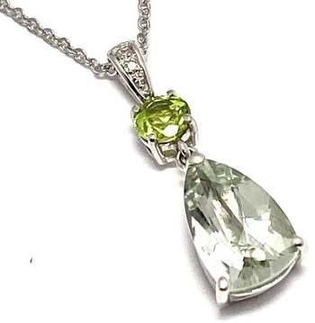 Authentic Lorenzo .925 Sterling Silver, 5.72ctw Green Amethyst & Peridot & White Topaz Necklace