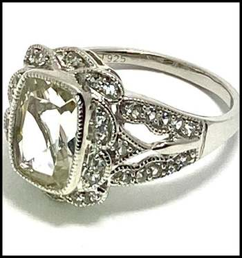 Authentic Lorenzo .925 Sterling Silver, 5.75ctw Diamonique Ring Size 6.5