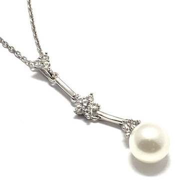 Authentic Lorenzo .925 Sterling Silver, 5mm Fresh Water Pearl & White Topaz Necklace