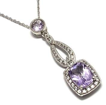 Authentic Lorenzo .925 Sterling Silver, 6.95ctw Lilac Amethyst & White Topaz Necklace
