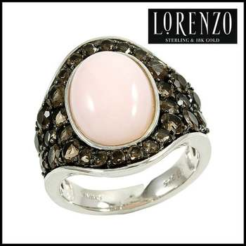 Authentic Lorenzo .925 Sterling Silver, Pink Opal & Smoky Quartz Ring, Size 7
