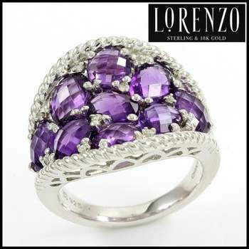 Authentic Lorenzo .925 Sterling Silver White Gold Plated, Genuine Diamond & Amethyst Ring, Size 8