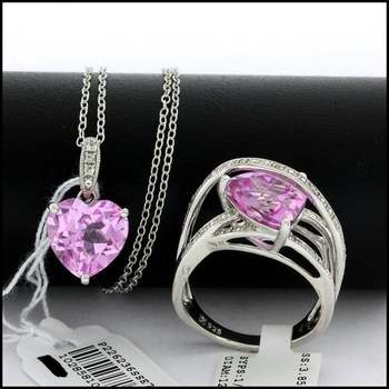 Authentic Lorenzo .925 Sterling Silver White Gold Plated Genuine Diamond & Pink&White Topaz Set of Ring & Necklace