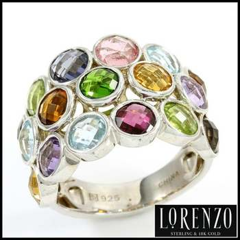 Authentic Lorenzo .925 Sterling Silver White Gold Plated, Genuine Multi-Color Stone Ring, Size 8