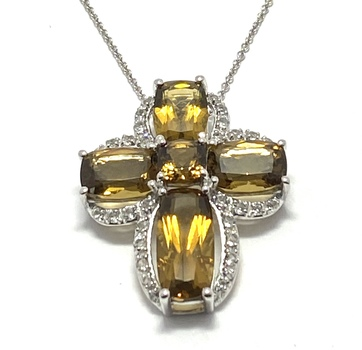 Authentic Lorenzo .925 Sterling Silver & White Gold Plated, Honey Citrine & White Sapphire Necklace