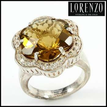 Authentic Lorenzo .925 Sterling Silver White Gold Plated, Honey Citrine & White Sapphire Ring, Size 7