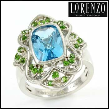 Authentic Lorenzo .925 Sterling Silver White Gold Plated, Licensed Swiss Blue Topaz & Chrome Diopside Ring, Size 7