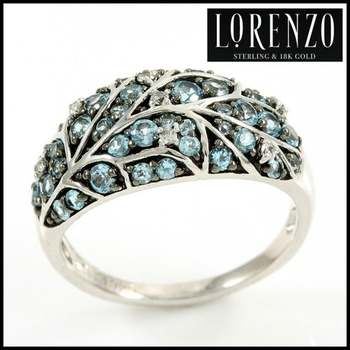 Authentic Lorenzo .925 Sterling Silver White Gold Plated, Licensed Swiss Blue Topaz & White Sapphire Ring, Size 7