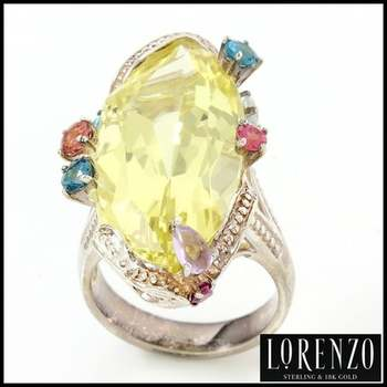Authentic Lorenzo .925 Sterling Silver White Gold Plated, Multi Color Gemstone Ring, Size 8