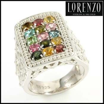 Authentic Lorenzo .925 Sterling Silver White Gold Plated, Multi Color Tourmaline Ring, Size 6