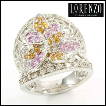 Authentic Lorenzo .925 Sterling Silver White Gold Plated, Pink Topaz & Yellow Topaz Ring, Size 6.75