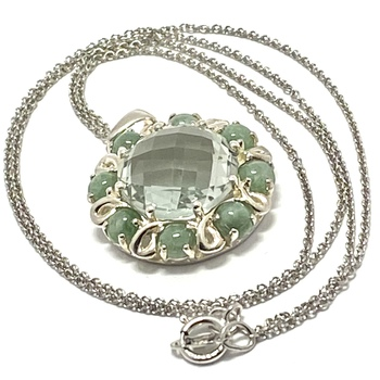 Authentic Lorenzo .925 Sterling Silver & White Gold Plated, Prasiolite &  Russian Jadeite Necklace