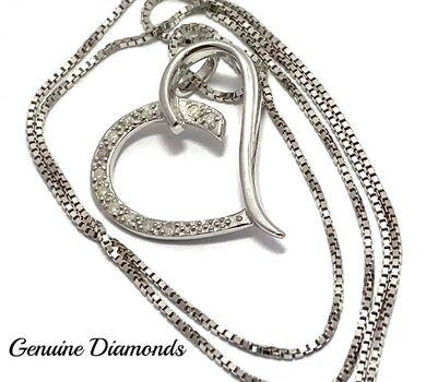 BUY NOW 0.084ctw Genuine Diamond Heart Necklace