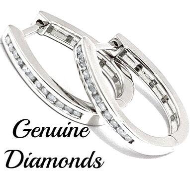 BUY NOW 0.25ctw Genuine Diamond Solid .925 Sterling Silver Earrings