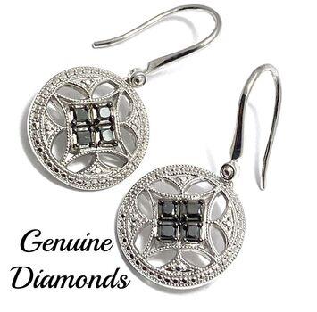 BUY NOW 0.35ctw Genuine Black & White Diamond Solid .925 Sterling Silver Earrings