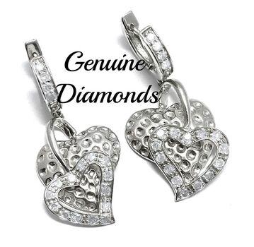 BUY NOW 0.75ctw Genuine Diamond Solid .925 Sterling Silver Earrings