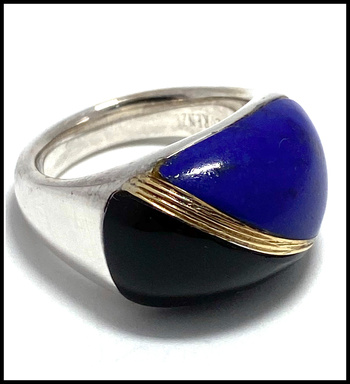 BUY NOW 10.34ctw Lapis & Onyx, .925 Sterling Silver Ring Size 7 Authentic Lorenzo