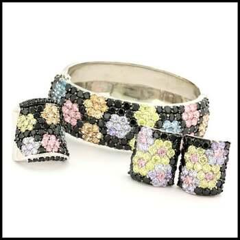 BUY NOW 105.5 Grams Sterling Silver Multicolor Stones Set of Bracelet, Clipon Earrings & Ring Size 7