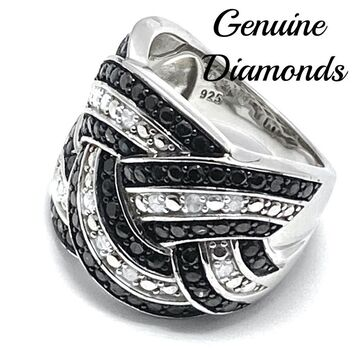 BUY NOW 1.0ctw Genuine Black & White Diamond Solid .925 Sterling Silver Ring Size 7