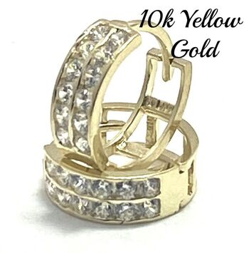 BUY NOW 10k Real Yellow Gold (Not Plated) Cubic Zirconia Hoop Earrings