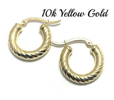 BUY NOW 10k Real Yellow Gold (Not Plated) Diamond Cut Hoop Earrings