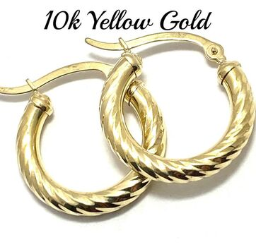 BUY NOW 10k Real Yellow Gold (Not Plated) Diamond Cut Hoop Earrings