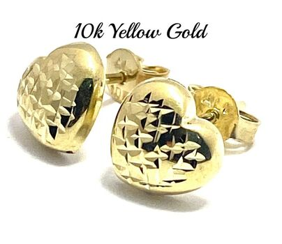 BUY NOW 10k Real Yellow Gold (Not Plated) Heart Stud Earrings