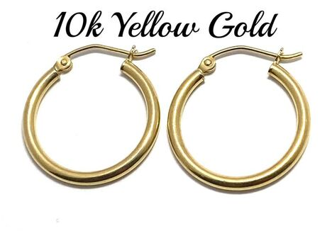 BUY NOW 10k Real Yellow Gold (Not Plated) Hoop Earrings