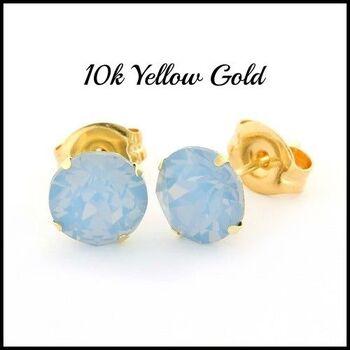 BUY NOW 10k Yellow Gold Blue Opal 6mm in Diameter Stud Earrings