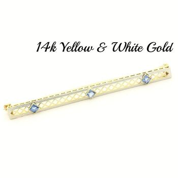 BUY NOW 14k Yellow & White Gold Antique Bar Pin with 0.60ct Sapphire