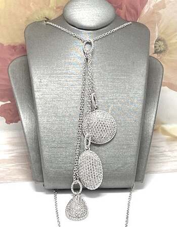 BUY NOW .925 Sterling Silver, 1.10ctw White Diamonique Necklace