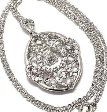 "BUY NOW .925 Sterling Silver 1.25ctw White Diamonique ""Dancing Diamond"" Design Necklace"