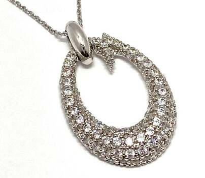 BUY NOW .925 Sterling Silver, 1.25ctw White Diamonique Necklace
