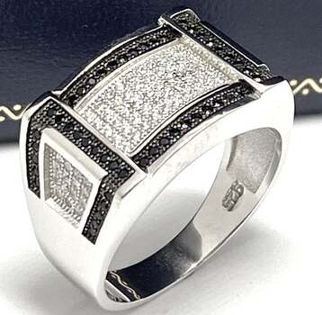 BUY NOW .925 Sterling Silver, 1.50ct Pave Set Black & White Diamonique Men's Ring Size 11