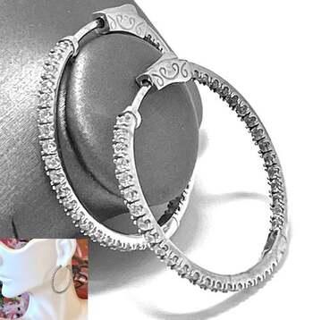 BUY NOW .925 Sterling Silver, 2.00ctw Inside-Out D-VVS1 Diamonique Hoop Earrings