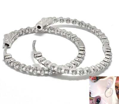 BUY NOW .925 Sterling Silver, 2.50ctw Inside-Out D-VVS1 Diamonique Hoop Earrings