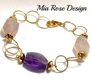 BUY NOW .925 Sterling Silver 35.00ctw Genuine Amethyst & 84.00ctw Genuine Pink Quartz Mia Rose Design Bracelet