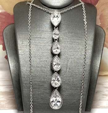 BUY NOW .925 Sterling Silver, 9.50ctw White Diamonique Necklace