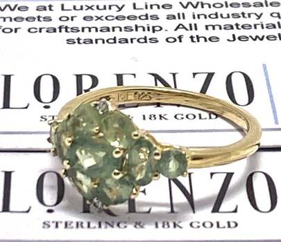 BUY NOW Authentic Lorenzo .925 Sterling Silver, 0.01ct Diamond & 1.92ct Apatite Ring Size 8