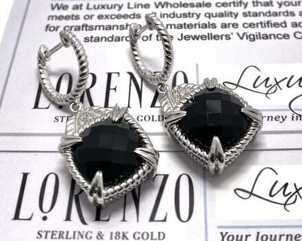 BUY NOW Authentic Lorenzo .925 Sterling Silver, 0.042ctw Genuine Diamond & 8.36ctw Onyx Earrings