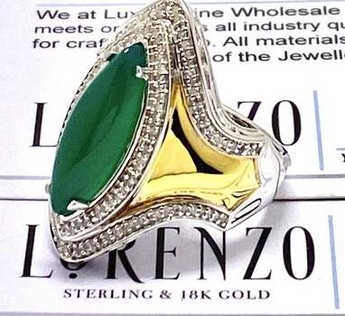 BUY NOW Authentic Lorenzo .925 Sterling Silver, 0.35ct Diamond & 5.75ct Jade Ring Size 7