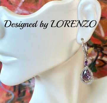 BUY NOW Authentic Lorenzo .925 Sterling Silver, 2.72ctw Amethyst & 0.42ctw White Sapphire Earrings